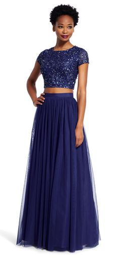 Adrianna Papell | Sequin Crop Top and Tulle Skirt