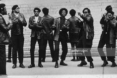 Members of the Black Panther party demonstrate outside the Criminal Courts Building