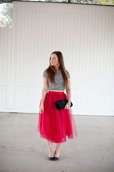 Tulle-Skirt-Midi-Jimmy Choo-Stripes-Red-OOTD-Style-Fashion