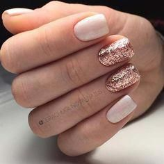 Rose Gold Glitter Nails for Elegant Nail Designs for Short Nails #shortnailsartdesign