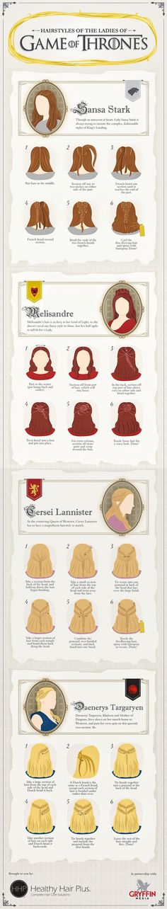 "Hairstyles from the ""Game of Thrones"" TV Series"