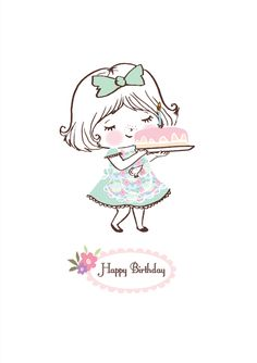 Happy Birthday Girls, Happy Birthday Pictures, Happy Birthday Wishes, Happy Birthday Drawings, Birthday Card Sayings, Happy Birthday Greeting Card, Birthday Cards, Happy Birthday Illustration, Cute Illustration