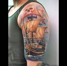 What does ship tattoo mean? We have ship tattoo ideas, designs, symbolism and we explain the meaning behind the tattoo. Pirate Ship Tattoos, Pirate Tattoo, Tattoos For Guys, Cool Tattoos, Tatoos, Awesome Tattoos, Ship Tattoo Sleeves, Father Tattoos, Sea Tattoo