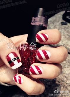 Christmas nails. I don't like commenting on pictures so the next person has to remove it, but.... Come on, cute!