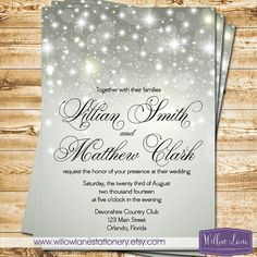 Silver Bokeh Wedding Invitation - Winter Wedding Invite - Falling Snow Sparkles Gray Glitter 6125 PRINTABLE