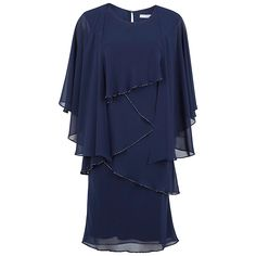 Buy Gina Bacconi Chiffon Shawl and Beaded Edge Dress, Navy, 8 Online at johnlewis.com