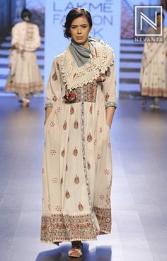 Vrisa by Rahul n Shikha added tassled scarfs to complete their layered look at #LakmeFashionWeek'16