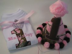 Pink Camoflauge, Girls Camo Birthday Party Outfit,Party Hat and Shirt,Personalized,First Birthday,ADDORABLE on Etsy, $48.00