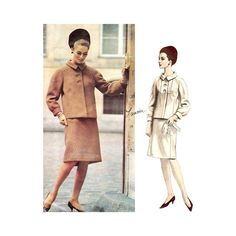 """Sew Jackie O! What a classic 1960's women's suit pattern by Lanvin and Vogue, guaranteed to be an elegant standout today: """"Shaped jacket has fly-front closing below buttoned bib detail. Shirt-like rag"""