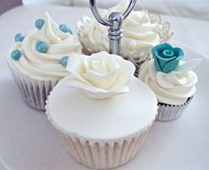 Teal Wedding Cupcakes - Teal Cupcakes, White Wedding Cupcakes, Fancy Cupcakes, Vanilla Cupcakes, Wedding Cakes, Wedding Veils, Wedding Hair, Bridal Hair, Dream Wedding