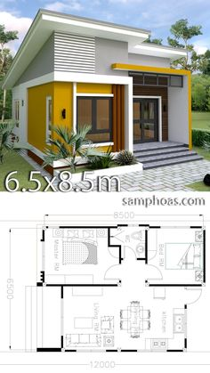 Small Home design Plan with 2 Bedrooms. This villa is modeling by SAM-ARCHITECT With One stories level. It's has 2 bedrooms.Simple Home Design House Design Small Home design Plan with 2 Bedrooms - SamPhoas Plan Simple House Design, Tiny House Design, Modern House Design, Small Home Design, Midcentury Modern House Plans, Small Modern Home, Dream Home Design, 2 Bedroom House Plans, Small House Plans