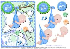 Sweet topper It s a Boy 2 on Craftsuprint designed by Di Simpson - Sweet topper for new little baby boy. With 3D elements to bring to life. - Now available for download!