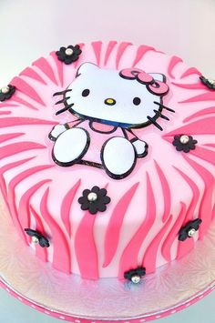 Hello Kitty Cake w/pink zebra stripes Bolo Da Hello Kitty, Hello Kitty Birthday, Pretty Cakes, Cute Cakes, Beautiful Cakes, Pink Zebra Cakes, Bolo Original, Anniversaire Hello Kitty, Cat Party
