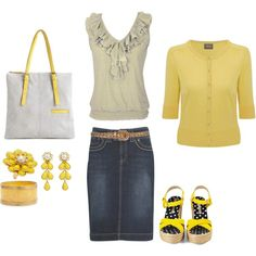 love the grey top and the yellow sweater. I think I already have a denim skirt