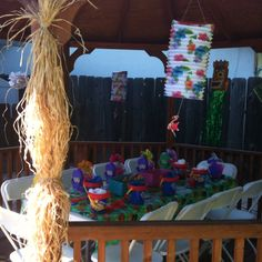Hawaiian luau bday party setting