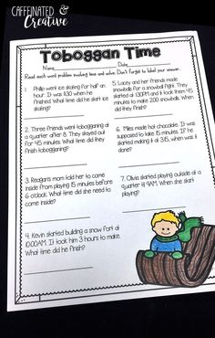 Toboggan Time is a fun way students to solve word problems in involving elapsed time. Part of a Winter Literacy and Math No Prep Bundle for Second Grade.