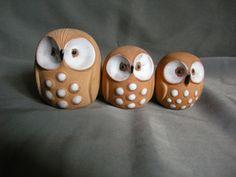Vintage set of three terra cotta owl by ThatSomethingExtra on Etsy, $6.00
