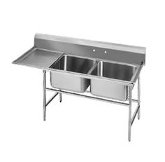 """Advance Tabco Regaline Sink two Cmpt. 20"""" - 94-22-40-36L    Regaline Sink, two compartment, w/left-hand drainboard, 20"""" front-to-back x 20"""" W compartment, 14"""" deep, with 11"""" high splash, s/s open frame base, boxed crossrails, 36"""" drainboard, s/s bullet feet, 14/304 stainless steel, overall 27"""" F/B x 84"""" L/R"""