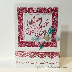 BeautyScraps: Card #1 - BeautyScraps Stampin' Up! Sealed With Love Valentine's Day Card Class January 2017