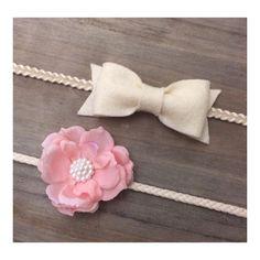 Flower And Felt Bow Headband Set-Newborn Baby Headband Set on Etsy, $15.00