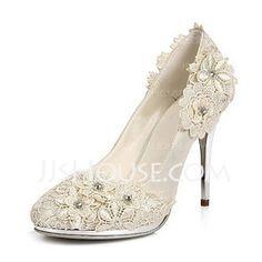 Satin Stiletto Heel Closed Toe Pumps Wedding Shoes With Rhinestone Satin Flower (047020106)