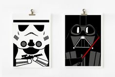 Star wars Darth Vader and Storm Trooper 5x7 art prints by loopzart