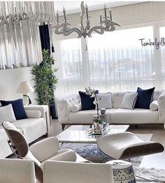 Navy Blue Living Room, Living Room Grey, Home Living Room, Living Room Designs, Living Room Furniture, Home Furniture, Living Room Decor, Family Room Decorating, Apartment Interior Design