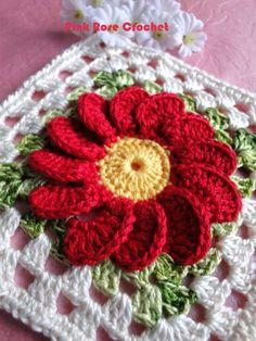 Diy Crafts - Crochet Knitting Handicraft: Bright with a flower motif Granny Square Crochet Pattern, Crochet Blocks, Crochet Flower Patterns, Crochet Squares, Crochet Afghans, Crochet Motif, Crochet Doilies, Crochet Flowers, Crochet Granny