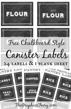 Free Printable Canister Labels - by @Karen Jacot - The Graphics Fairy