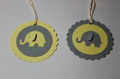 10pc Cute Pale Yellow and Grey Elephant Tags for by ThePaperOwl13,