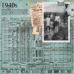 Note colors: census report background colored really adds to the image Heritage Scrapbook Pages, Vintage Scrapbook, Scrapbook Page Layouts, Family History Book, Family Roots, Family Genealogy, Album Photo, Digital Scrapbooking, Scrapbooking Ideas