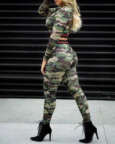 Lovely Casual Camouflage Printed Army Green Two-piece Pants Set Camo Outfits, Dope Outfits, Cropped Tops, Camouflage, Two Piece Pants Set, Tropical Dress, Estilo Fashion, Women's Fashion, Cheap Shoes Online