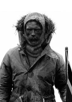Adventurer | Explorer | Layering | Old photograph | Black and white | Nigel Cabourn, Roll Neck Sweater, Jon Snow, Parka, Batman, Game Of Thrones Characters, Portrait, Sweaters, How To Wear