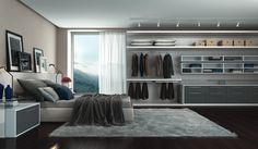 Closet Monte Bianco Caixa: 15mm MDP Monte Bianco Frentes: 18mm MDF Lacca Color Shine Silenzio Tampos e Nichos: branco Puxador: Slide Acessórios: Sistema Fly | Calceiro aramado | Cabideiro com led