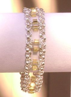 Silver Chainmaille Chain Maille Bracelet with Gold Square Faceted Crystals