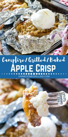 These delicious foil packets stuffed with your favorite apple crisp are perfect for making on the grill, over the campfire or in your oven! Tender, juicy apples topped with an oatmeal streusel makes a perfect apple crisp. Dont forget the ice cream on top of your Campfire Apple Crisp Foil Packets! #gimmesomegrilling #apple #dessert #applecrisp #foilpack #foilpackets #grill #grilled #grilling #campfire #recipe #easydessert #easyrecipe via @gimmesomegrilling