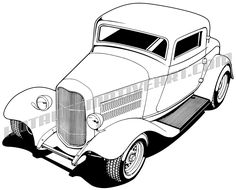 Hot Rod Drawing | 32 ford three window coupe clipart. buy two images, get one image free