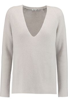HELMUT LANG Ribbed Wool And Cashmere-Blend Sweater. #helmutlang #cloth #sweater