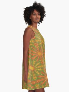 """""""""""Sunshine"""" abstract pattern in orange and yellow tones"""" A-line dress by clipsocallipso 