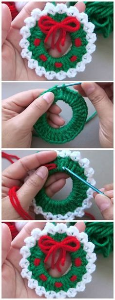 Crochet Christmas Wreath - Learn to Crochet - Crochet Christmas Decorations {. - Crochet Christmas Wreath – Learn to Crochet – Crochet Christmas Decorations {hashtags - Crochet Christmas Wreath, Crochet Christmas Decorations, Crochet Ornaments, Christmas Wreaths, Christmas Ideas, Crochet Wreath, Christmas Christmas, Christmas Things, Christmas Fashion