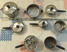 VTG RARE FIND NUTRI-SEAL Salesman Samples Pots & Pans STAINLESS STEEL SET Childs