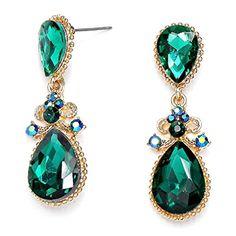 "2"" Long Emerald Green AB Crystal Rhinestone Gold Statemen... http://a.co/fAGpHAz"