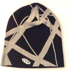 Eddie Van Halen EVH Logo Black and Gray Knit Beanie Skull Cap Hat 698bf0cff04d