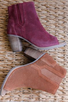 0f2d38038b2 Stand bold in the TOMS Majorca Bootie. With a wooden stacked heel and  perforated suede
