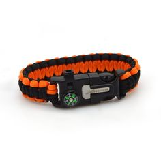 Freehawk® Multifunctional Outdoor Survival Paracord Bracelet/Emergency Kit With Compass Fire Starter Scraper Whistle Kit-Parachute Cord Buckle-Escape Survival Gear Pack for Camping,Fishing,Hiking *** You can get more details here : Hiking gear