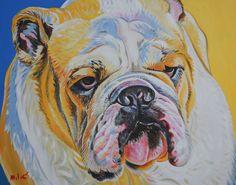 "texas bulldog 30x24"" oil on canvas by dragoslav milic-drago"