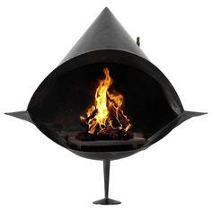 Black Coated Steel Fireplace 1
