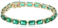 10k Yellow Gold Emerald Cut Created Emerald Bracelet, 7""