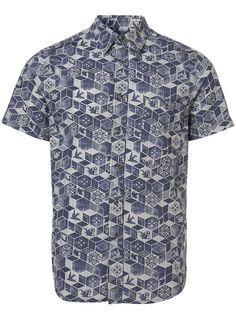 Blue Woodcut Print Short Sleeve Shirt - Casual Shirts - Mens Shirts - Clothing - TOPMAN USA
