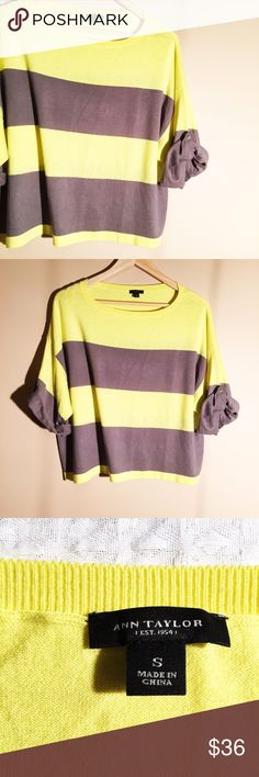 """Ann Taylor Striped Oversized Crop Sweater Top Soft and comfortable Ann Taylor knit top! Fits oversized, and looks awesome with shorts. Excellent condition! Would fit women's size small, medium, or large. Measures 22.5"""" from armpit to armpit. Bottom opening measures 23"""" laying flat. Length is 20"""". Reasonable offers welcome! Ann Taylor Sweaters Crew & Scoop Necks"""